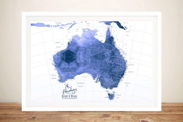 Personalised Australia Blue Watercolour Pushpin Map