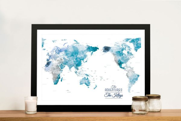 Buy Australia Centred Watercolour World Map in Ocean Tones