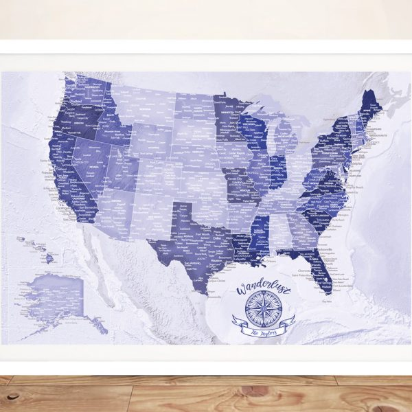 Customized Purple America Custom Pinboard Push Pin Map