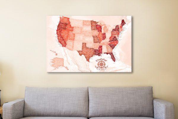 Custom USA Red Push pin Map