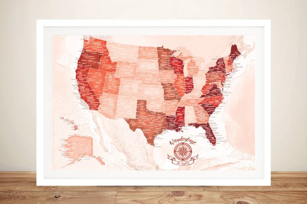 USA Red Pinboard Map Framed Wall Art