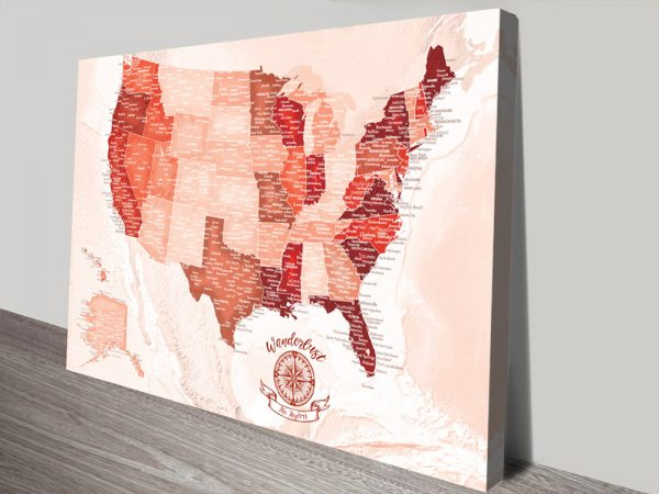 Personalized Red Tones Push Pin USA Travel Map