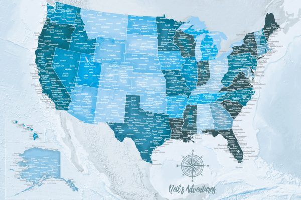USA Blue Pushpin Travel Map