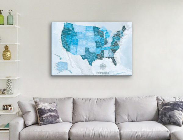 USA Sky Blue Map with Pins