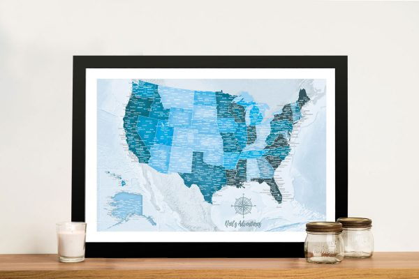 Personalized Blue USA Pin Map Art