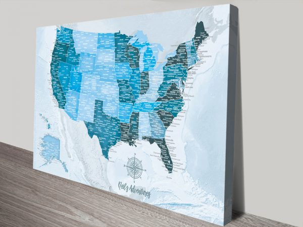 Personalized Blue North America Pin Map Art Print on Canvas