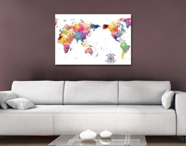 Buy World Map Custom Wall Art Cheap Online