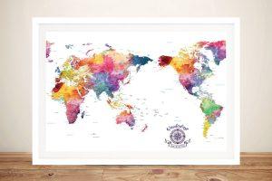 Pacific Centric Watercolour Splash World Map
