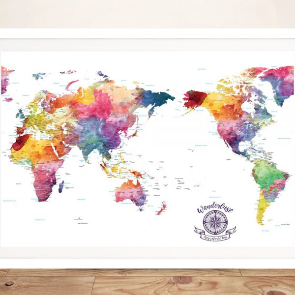 Buy a Colourful Pacific Centered World Map