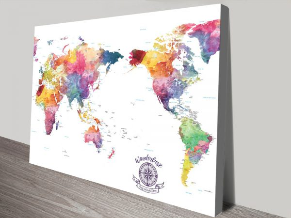 Buy Watercolour Splash World Map Wall Art