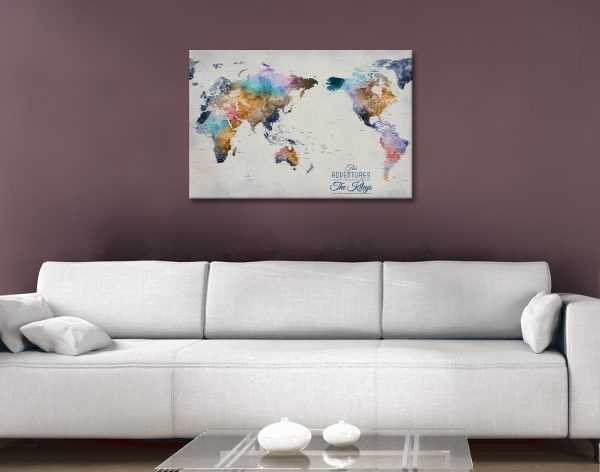 Pacific Centred World Pinboard Map Artwork