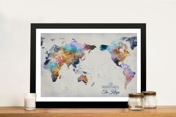 Pacific Centred World Push Pin Map Artwork