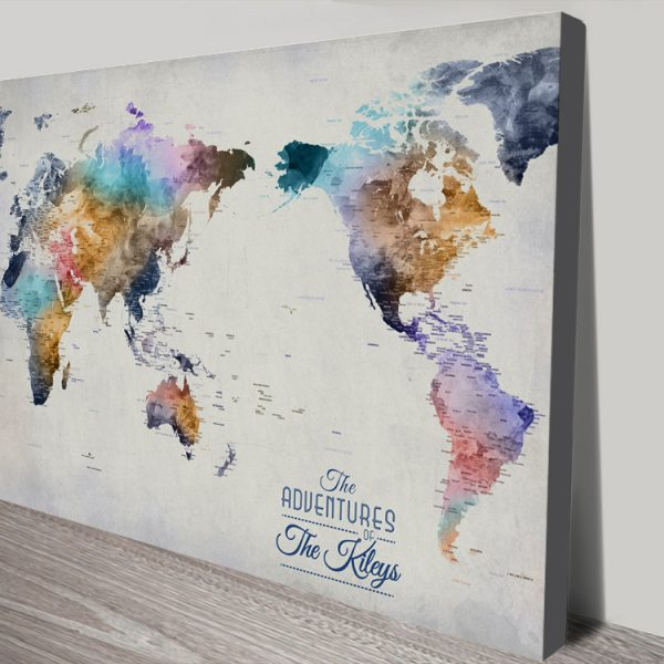 Pacific Centred World Push Pin Map