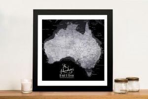 Australia Detailed Silver & Black Map