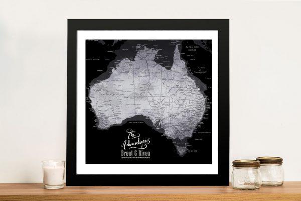 Buy a Framed Black & Silver Map of Australia