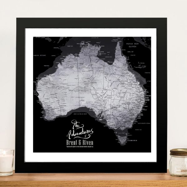Buy a Framed Black & Silver Map of Australia