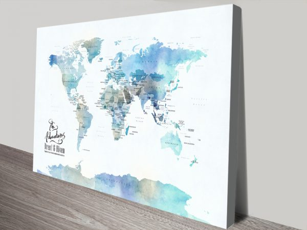 Blue Watercolour Pushpin World Map