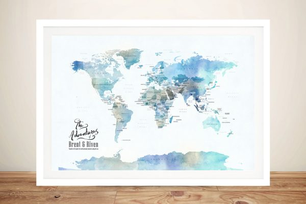 Blue Watercolour Minimalist World Map