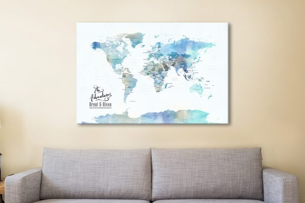 Blue Watercolour Map