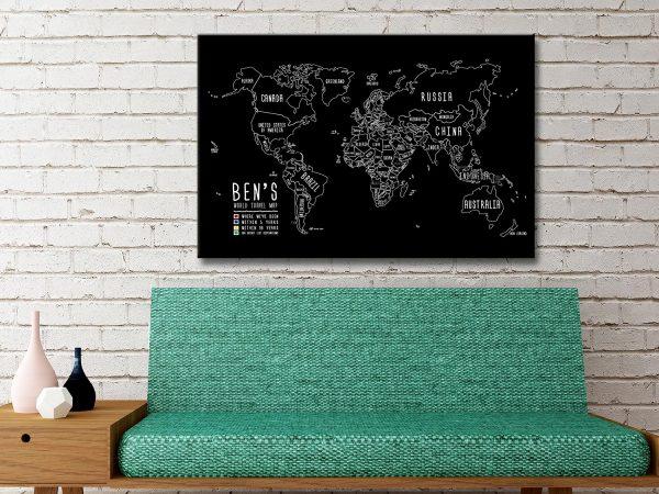 Custom Chalkboard Push Pin Map Online