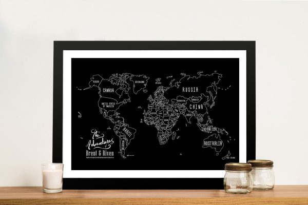 Chalkboard World Map Framed Wall Art