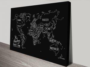 Chalkboard Push Pin Map