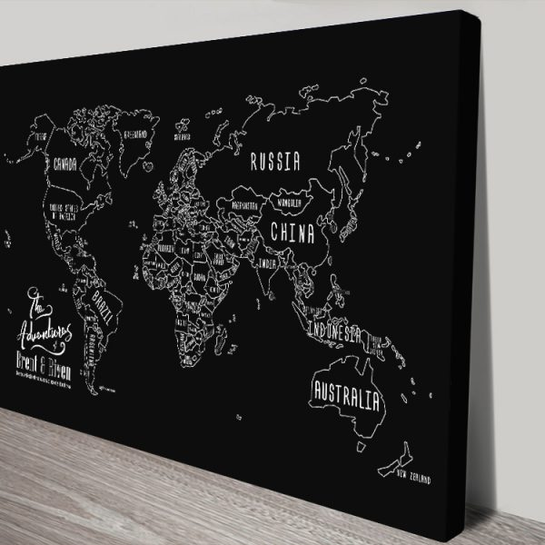 Personalised Chalkboard Push Pin Map Online