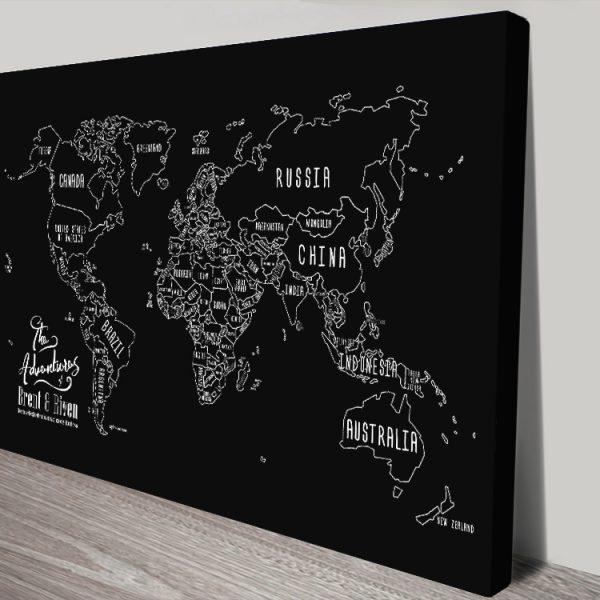 Personalised Chalkboard Push Pin Map Online