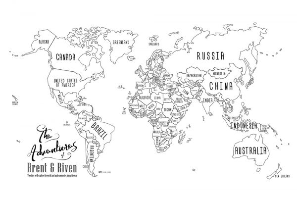 Chalkboard World Map Artwork