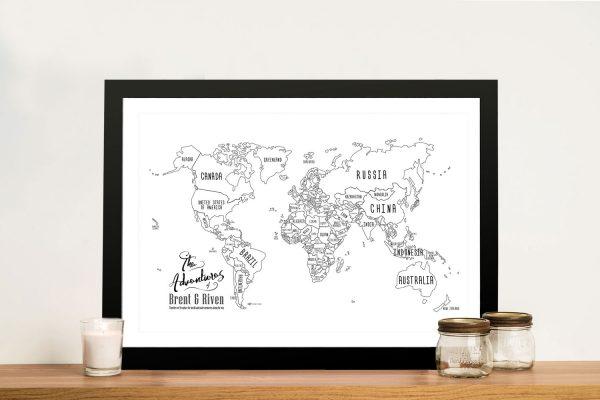 Buy a White Chalkboard Push Pin World Map