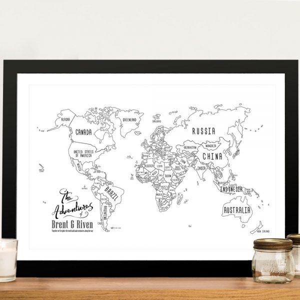 Buy a White Chalkboard Push Pin World Map