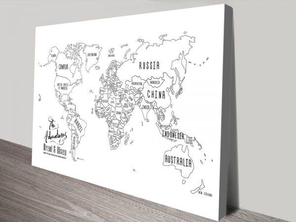 Chalkboard Pushpin World map Art