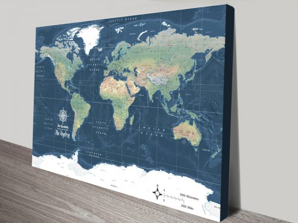 Buy Affordable Miller Physical Map Art Online