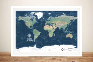 Dark Blue Miller Physical World Map