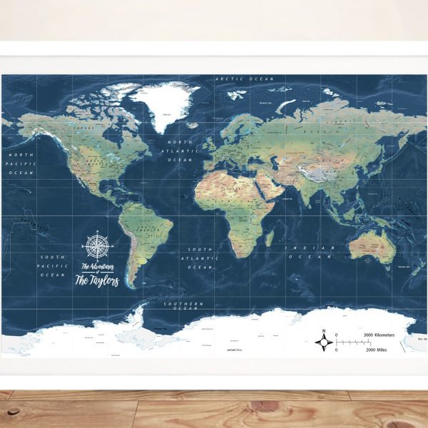 Buy a Dark Blue Miller Physical World Map