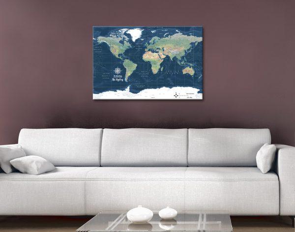 Buy Custom Dark Blue World Map Framed Art