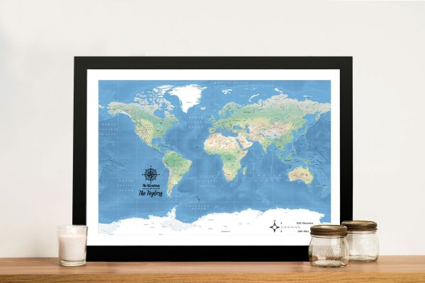 Map with compass Framed Wall Art