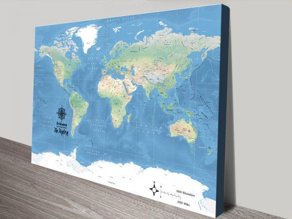 Miller Physical World Push Pin Map