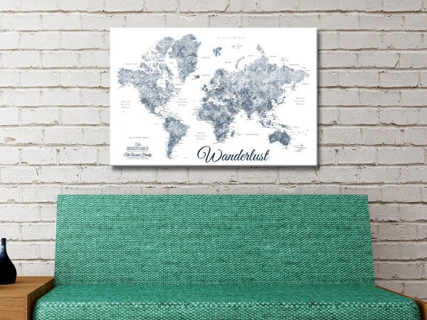 Buy Wanderlust Custom World Map Wall Art Online