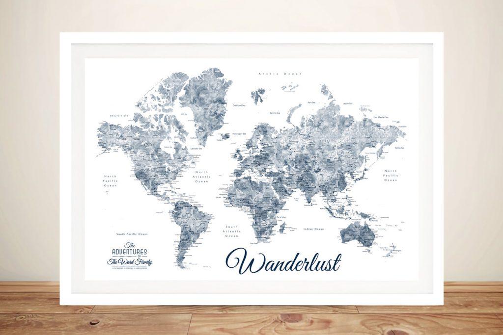 Wanderlust Blue & White World Map