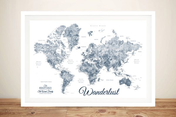 Buy Wanderlust Map Wall Art in Blue & White