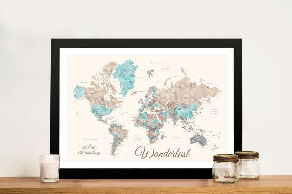 Buy Pastel Watercolour Map Art Cheap Online