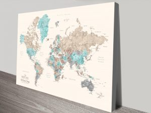 Pastel Watercolours Pushpin World Map