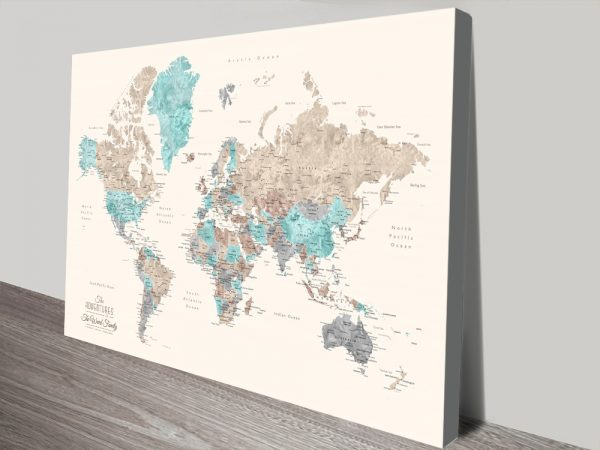 Buy Pastel Watercolour World Map Wall Art