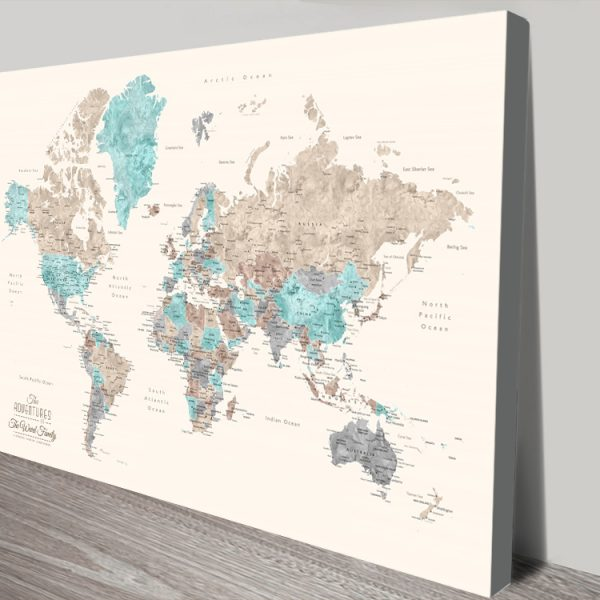 Buy Pastel Watercolour World Map Wall Art