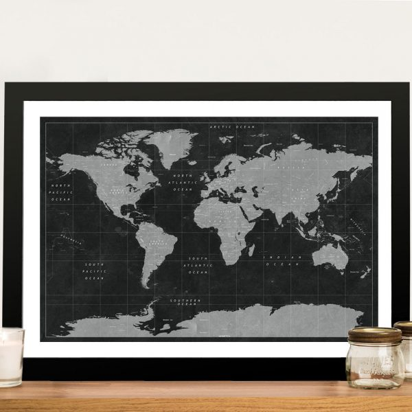 Buy a Black & White Personalised Pushpin Map