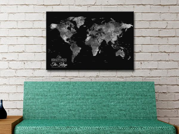 Buy Black & Silver World Map Art Cheap Online
