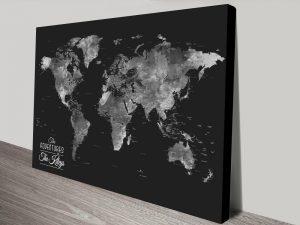 Wanderlust Black & Silver World Map