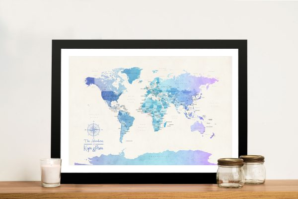 Buy a Watercolour Blue Tones Political World Map