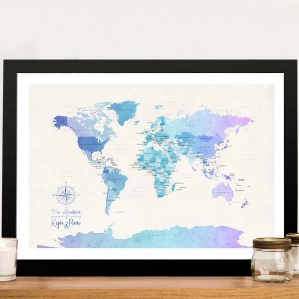 Buy a Watercolour Blue Tones Political World Map